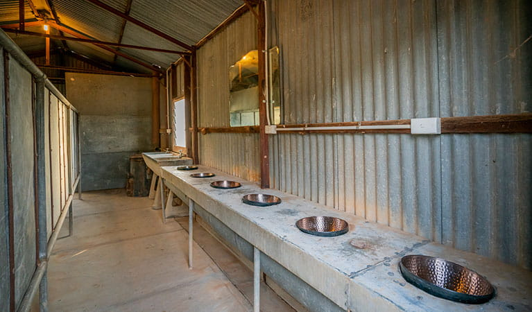 Sinks inside the shower block at Mount Wood Shearers Quarters. Photo: John Spencer/DPIE