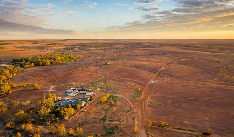Aerial view of the landscape and homestead at Mount Wood in Sturt National Park. Photo: John Spencer/DPIE