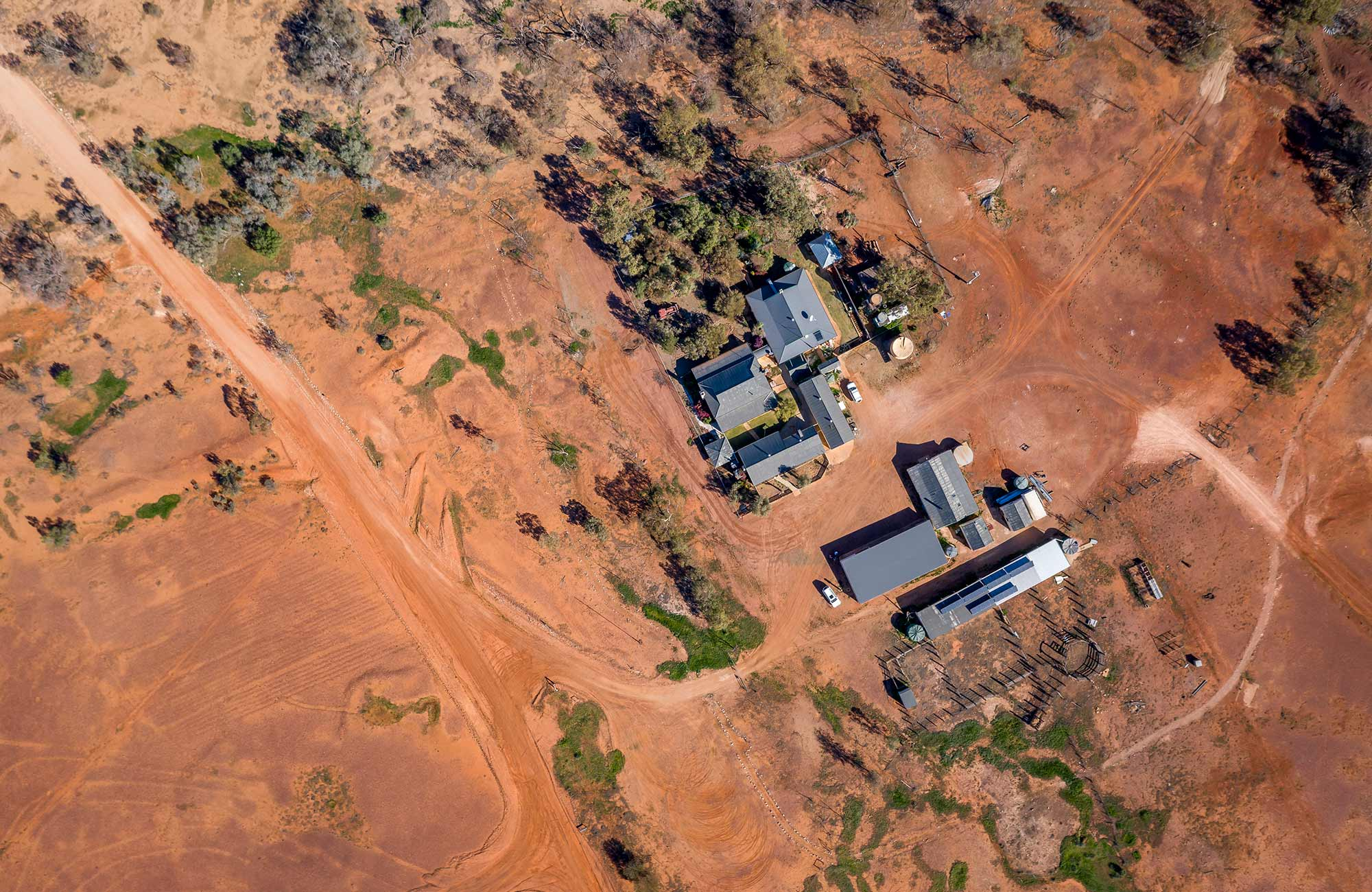 Aerial view of the red earth at Mount Wood Homestead. Photo: John Spencer/DPIE