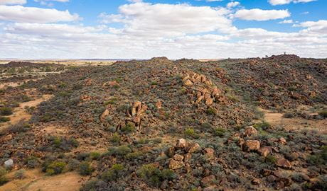 Aerial of The Granites walking track in Sturt National Park. Photo: John Spencer/DPIE