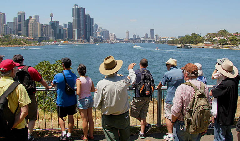 Views of Darling Harbour from Goat Island, Sydney Harbour National Park. Photo: Natasha Webb/OEH