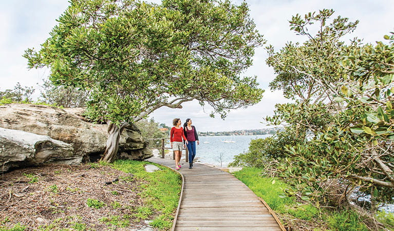 Friends walking on Hermitage Foreshore track in Nielsen Park. Photo: Simone Cottrell/DPIE