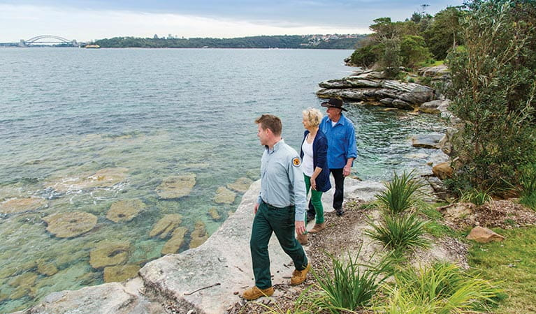 Ranger and park visitors on Hermitage Foreshore track in Nielsen Park. Photo: Simone Cottrell/DPIE