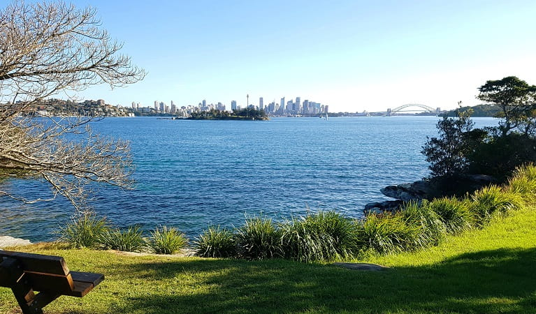 View of Sydney skyline from Hermitage Foreshore walking track, Sydney Harbour National Park. Photo: Amanda Cutlack/OEH