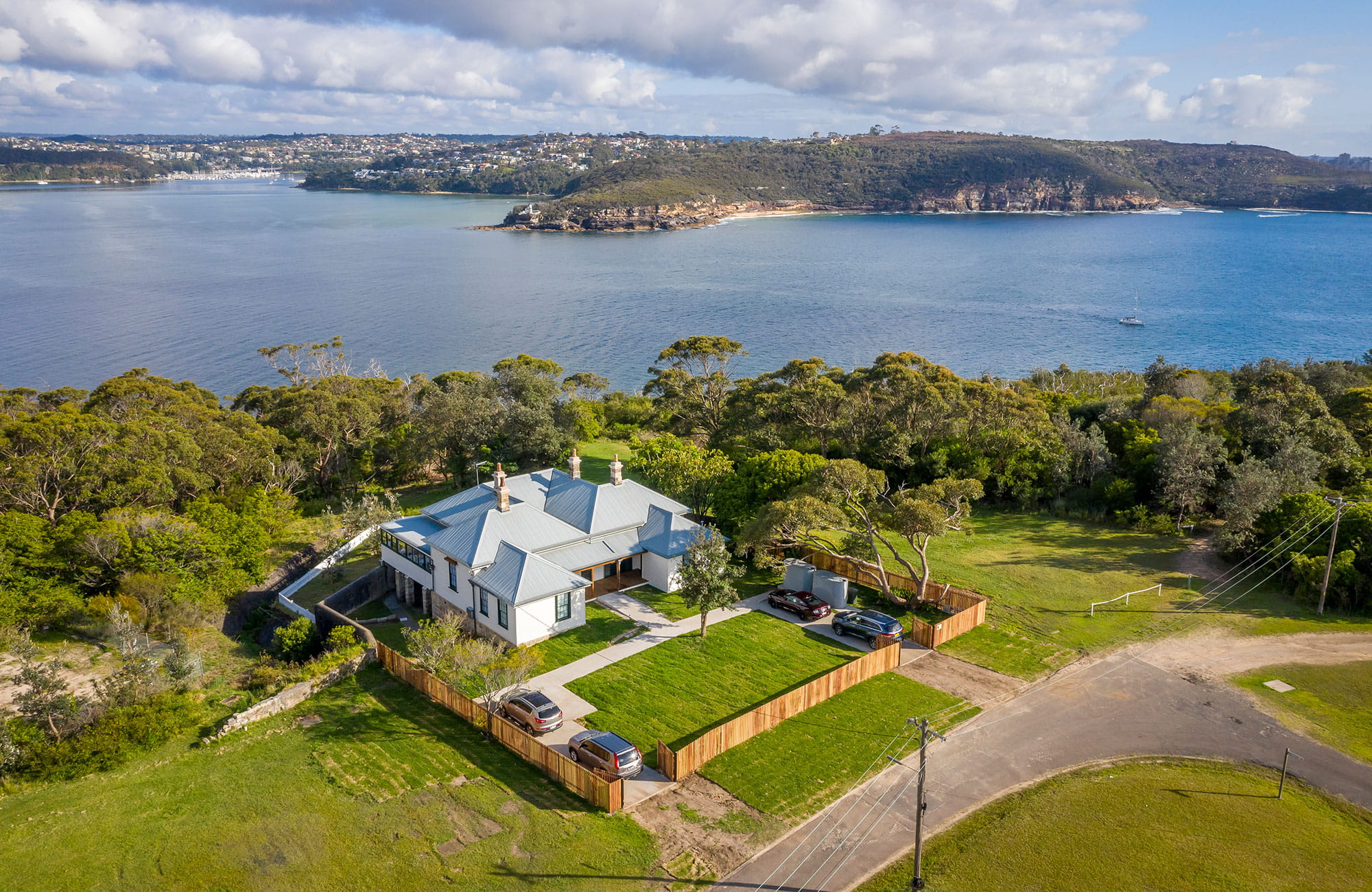 Aerial view of Middle Head Officers Quarters with Sydney Harbour in the background. Photo: John Spencer/DPIE
