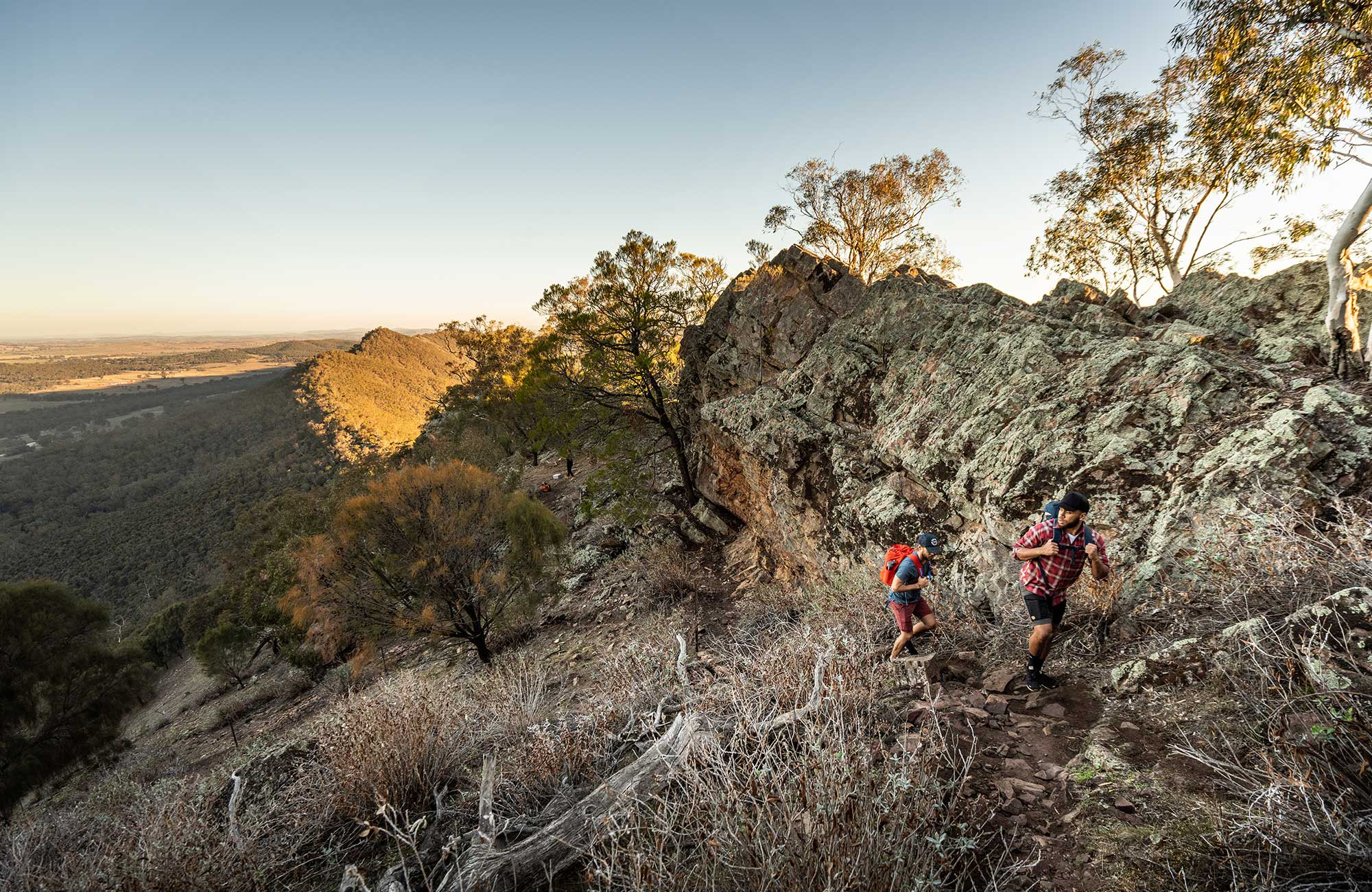 Two men hike uphill along Yerong walking track in The Rock Nature Reserve - Kengal Aboriginal Place. Photo: Robert Mulally/DPIE