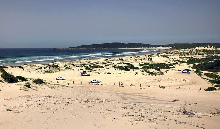 View across sand to vehicles, people, and a tent on Samurai Beach in Tomaree National Park. Photo: Jim Cutler © DPIE