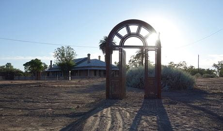 Photo of giant steel front door artwork, Toorale Homestead precinct (Yarramarra). Photo: triggerdesign.com.au