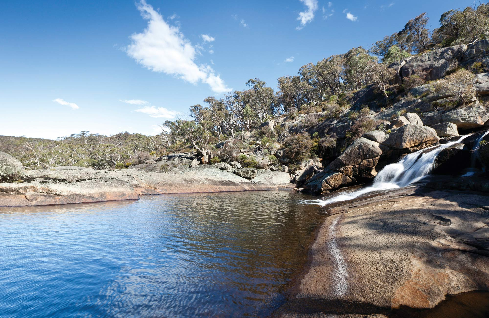 Water cascades down rocks into a waterhole, seen from Cascades walking track in Wadbilliga National Park. Photo: Luca Boyd/DPIE