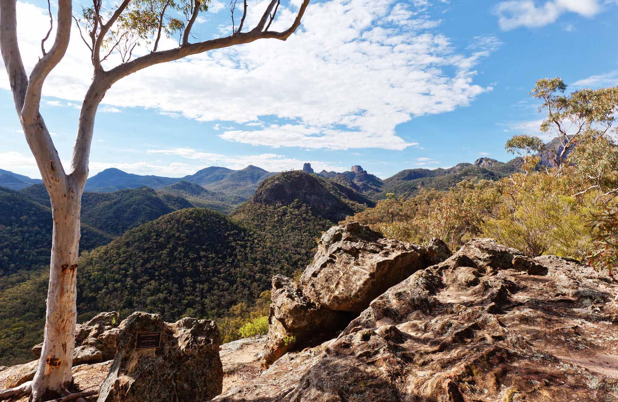 View from Fan's Horizon lookout, Warrumbungle National Park. Photo: Rob Cleary