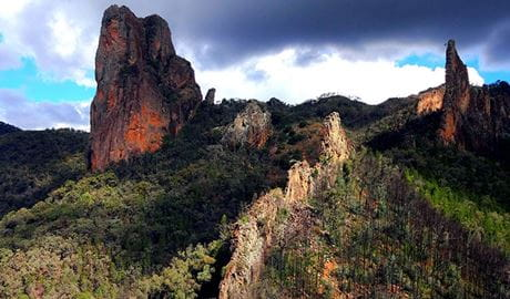 The Breadknife rock formations across the landscape in Warrumbungles National Park. Photo: Chinmoy Mukerjee