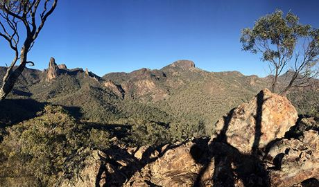 Panorama of rugged mountain peaks and domes in Warrumbungle National Park. Photo: May Fleming © May Fleming