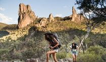 Two women hike the Breadknife and Grand High Tops walk in Warrumbungle National Park. Photo: Robert Mulally/OEH
