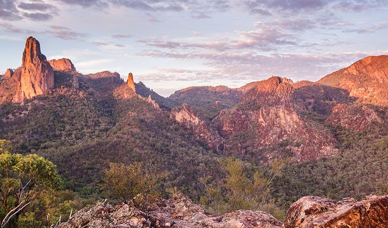 The Breadknife and HighTops at sunset, Warrumbungle National Park. Photo: Copyright Simone Cottrell