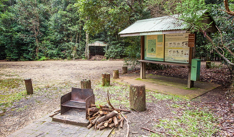 Information sign and barbecue at Bellbird campground in Washpool National Park. Photo: Robert Cleary/DPIE