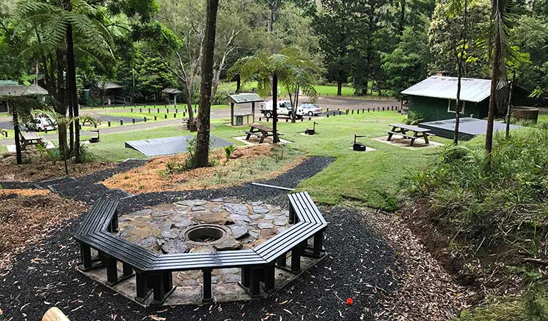 A seating area at Rummery Park campground. Photo: Andrew Fay/OEH