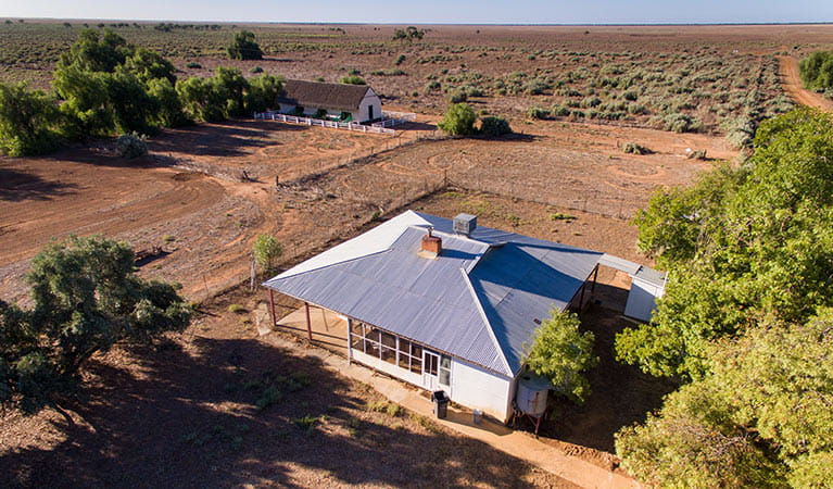 Aerial view of Willandra Cottage, Willandra National Park. Photo: Vision House Photography/DPIE