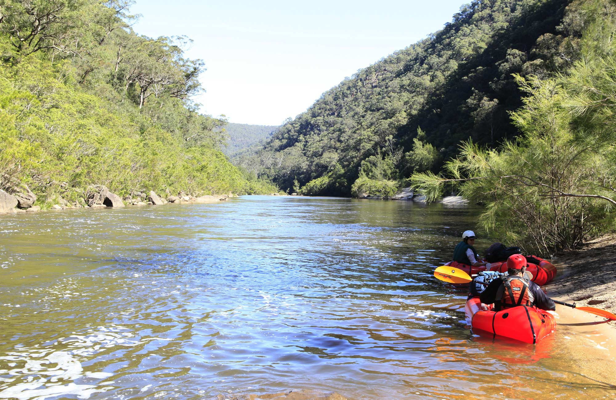 Kayakers on the Colo River, Wollemi National Park. Photo: Rosie Nicolai.