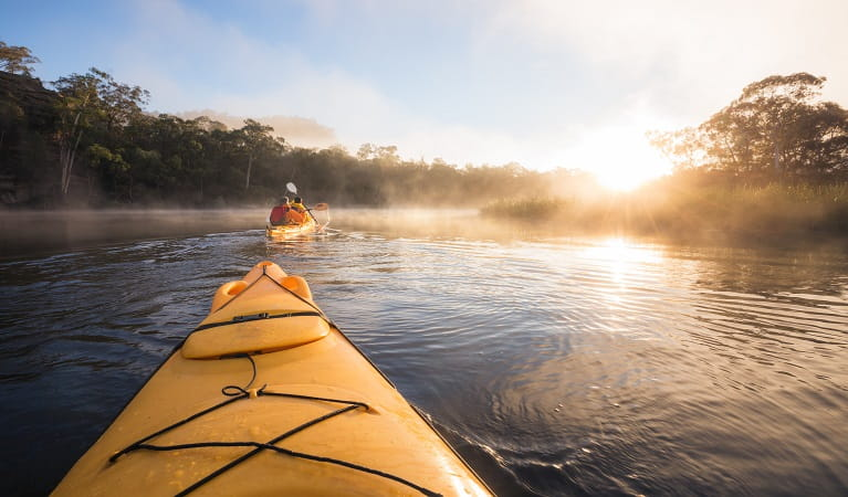 People kayacking along Cudgeong river, Dunns Swamp - Ganguddy campground, Wollemi National Park. Photo: Daniel Tran/OEH