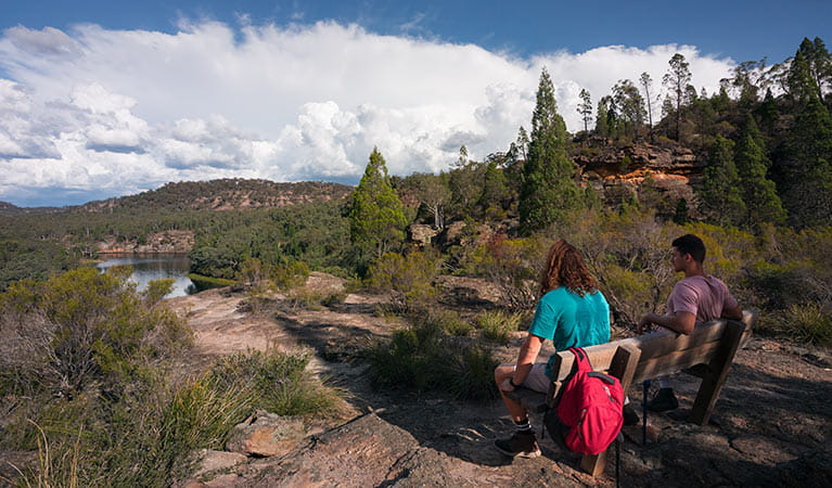 People resting on Pagoda Lookout walking track, Wollemi National Park. Photo: Daniel Tran/OEH