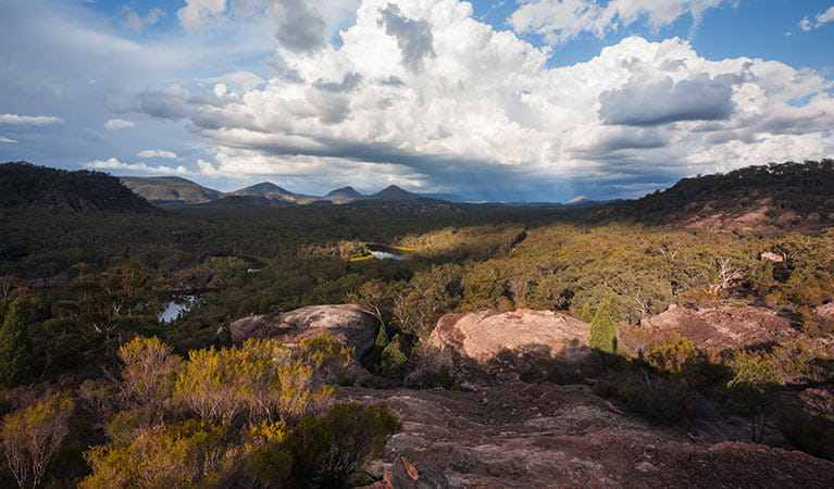 Panoramic views from Pagoda Lookout, Wollemi National Park. Photo: Daniel Tran/OEH