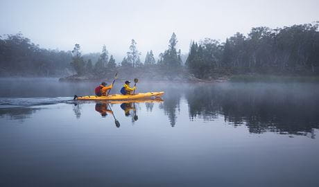 Morning kayakers in mist at Dunns Swamp-Gunguddy, Wollemi National Park. Photo: Daniel Tran/OEH.