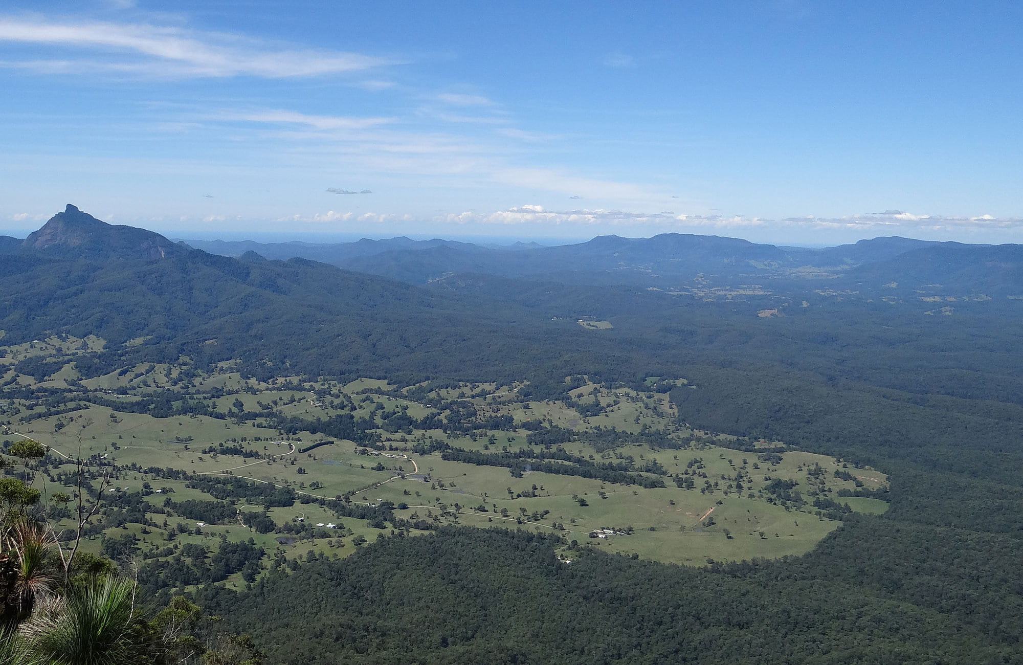 View of Wollumbin (Mount Warning) and Tweed Valley from Pinnacle walk and lookout, Border Ranges National Park. Photo: John Spencer/OEH