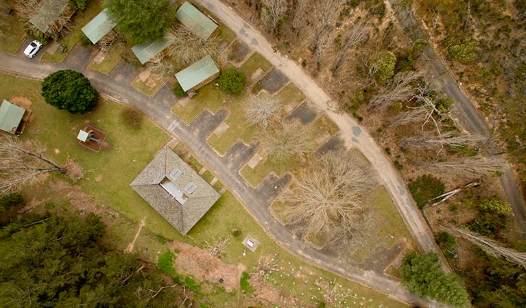 Arial photo showing some of Wombeyan Caves cabins and caravan bays. Photo: OEH/John Spencer