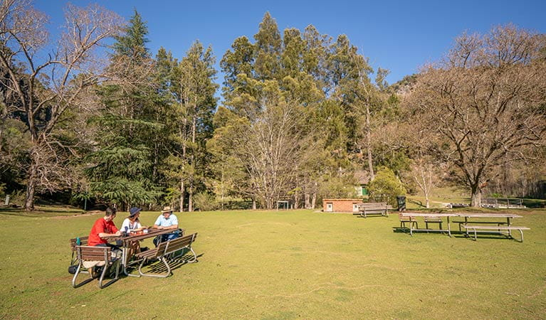 Family sitting together in the sun at a picnic table at Wombeyan picnic area. Photo: OEH/John Spencer