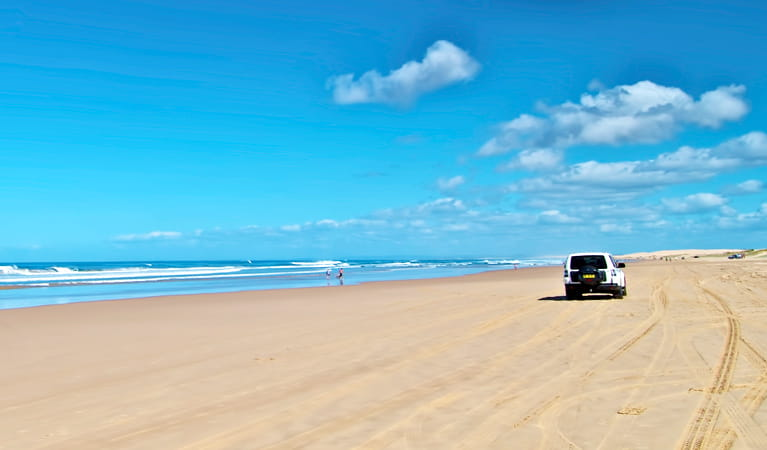 Beach 4WD driving, Worimi Conservation Lands. Photo: John Spencer