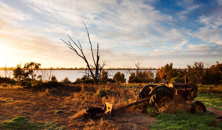 Antique machinery beside Lake Yanga. Photo: David Finnegan.