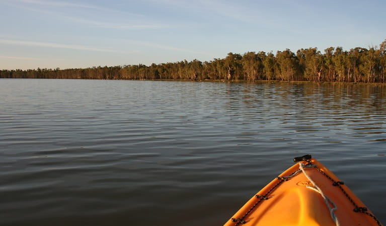 Yanga Lake from a kayaker's perspective, Yanga National Park. Photo: Martin Kendall/OEH
