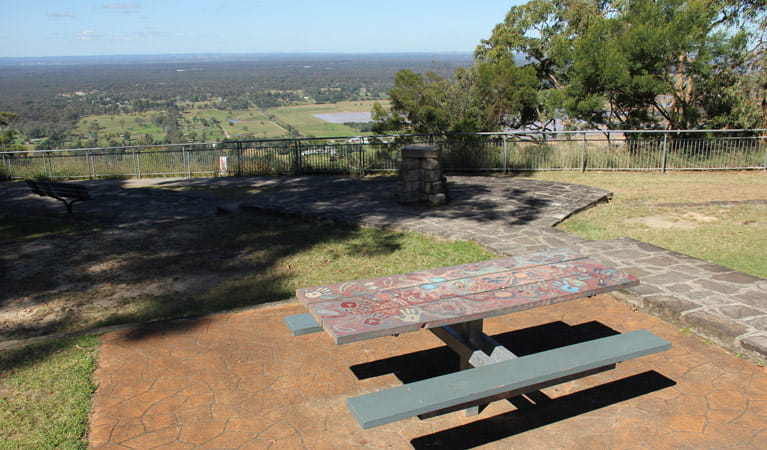 Picnic tables at the Hawkesbury lookout. Photo: John Yurasek