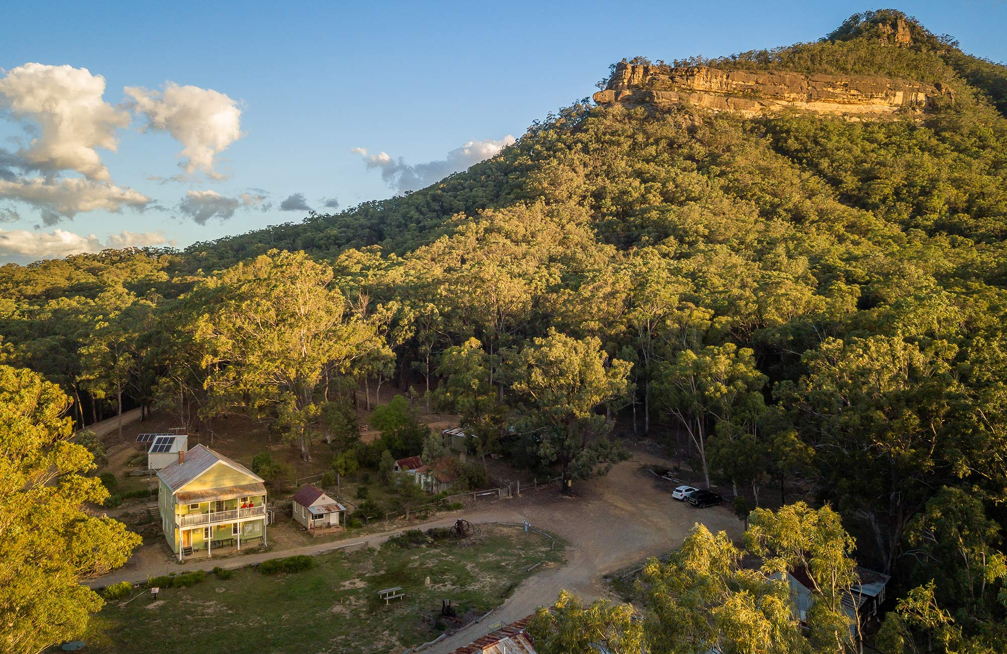 Arial view of Post Office Lodge at Yerranderie Private Town in Yerranderie Regional Park. Photo: John Spencer/OEH