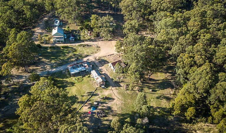 Arial view of the campground and accommodation at Yerranderie Private Town in Yerranderie Regional Park. Photo: John Spencer/OEH