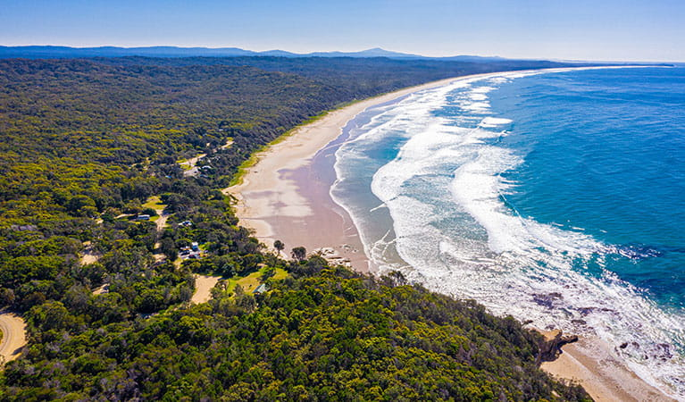 Aerial view of Illaroo campground and group camping area in Yuraygir National Park. Photo: Jessica Robertson © DPIE