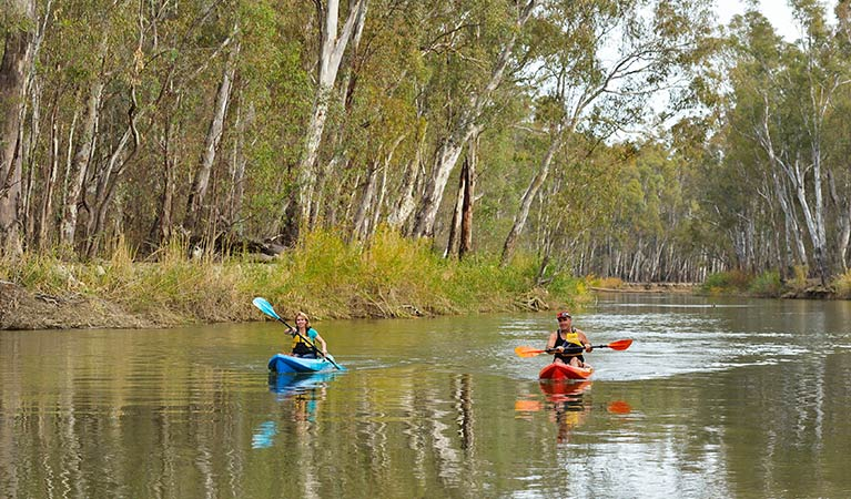 Kayaking The Narrows Murray River near Swifts Creek campground. Photo: David Hansford/DPIE
