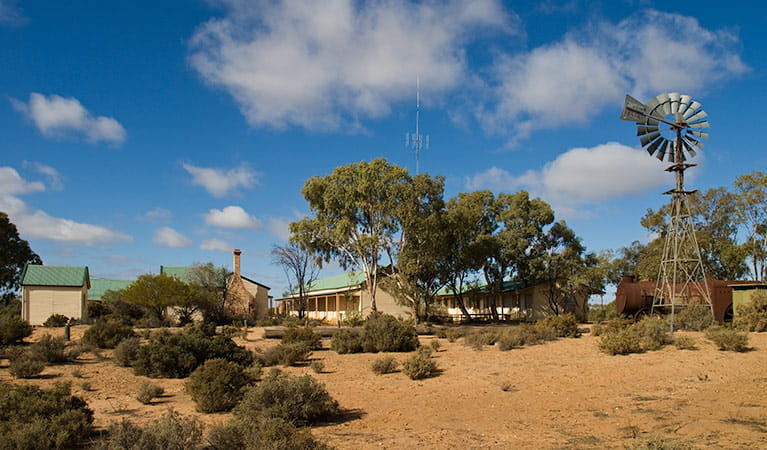 Dust, windmill and old shearers' quarters. Photo: Boris Hlavica/OEH.