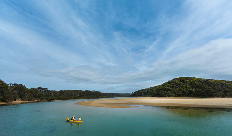 Kayaking in Nelson lagoon, Mimosa Rocks National Park. Photo: David Finnegan