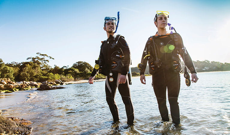 2 people scuba diving  at Bonnie Vale in Royal National Park. Simone Cottrell/DPIE