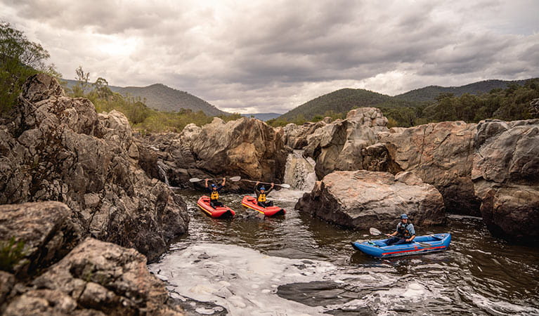 Water rafting in Kosciuszko National Park. Photo: Rob Mulally/DPIE