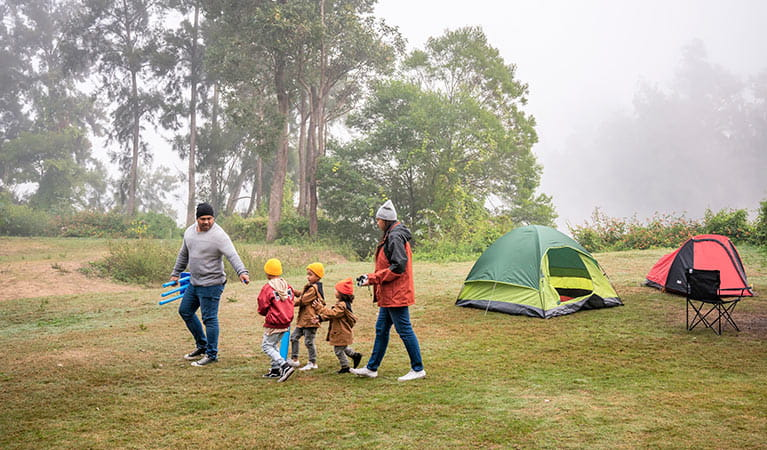 Family with young kids camping at Cattai campground. Photo: John Spencer/DPIE