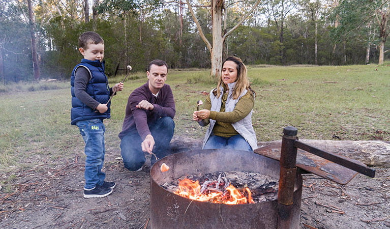 Family toasting marshmallows in a designated fire pit at Euroka campground. Photo: Simone Cottrell/DPIE