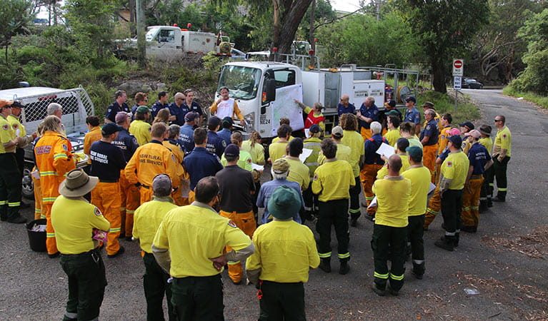 NPWS and NSW Rural Fire Service and Fire Rescue NSW staff preparing for a controlled burn. Photo: David Croft/DPIE