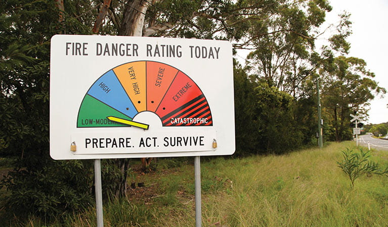 Fire danger rating sign at Royal National Park. Photo: Andrew Richards/DPIE