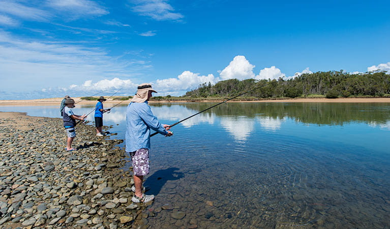 Family fishing at Khappinghat River in Saltwater National Park. Photo: John Spencer/DPIE