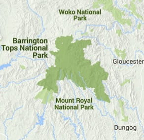 Map of Barrington Tops National Park