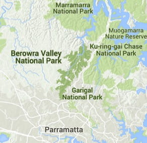 Map of Berowra Valley National Park