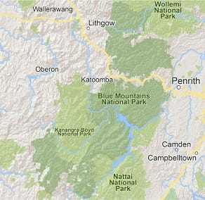 Map of Blue Mountains National Park