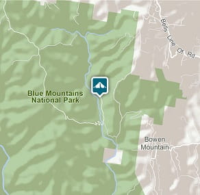 Map of Burralow Creek campground in Blue Mountains National Park